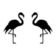 "Set of 2 FLAMINGO 2"" Vinyl Decal Stickers - Tropical Bird - Mirrored Set"