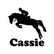 HORSE JUMPING with Personalized Name Vinyl Sticker - Show Jumping - Die Cut Decal
