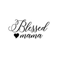 "Blessed Mama 6"" x 3"" Vinyl Decal Sticker - Love Heart Mother"