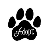 "ADOPT PAWPRINT 5"" x 5"" Vinyl Decal Sticker - Dog Cat Paw"