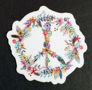 "2x PEACE SIGN of FLOWERS 2"" Die Cut Stickers - Floral Gypsy Hippie Decals"