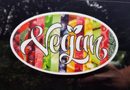 "VEGAN 6"" x 3.5"" Die Cut Sticker - Oval Decal - Fruits Vegetables Veganism"