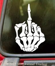 SKELETON MIDDLE FINGER - Vinyl Decal Sticker - Bones Hand Halloween