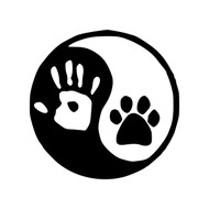 Yin Yang with Paw Vinyl Decal Sticker - Handprint Pawprint Dog Cat Human