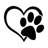 Heart with Pawprint Vinyl Decal Sticker - Dog Cat Love Pet Puppy Kitten