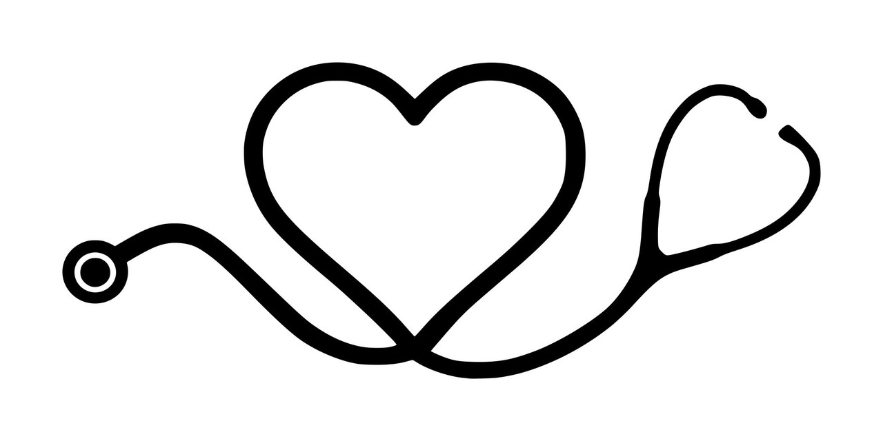 "HEART STETHOSCOPE 6"" x 2.5"" Vinyl Decal Sticker - Doctor ..."