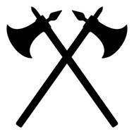 CROSSED BATTLE AXES Vinyl Decal Sticker -V2- Battle-axe Medieval Combat Viking