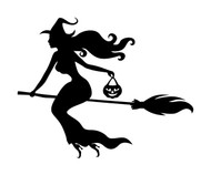Witch on Broomstick Vinyl Decal Sticker -V6- Flying - Jack o'lantern Halloween