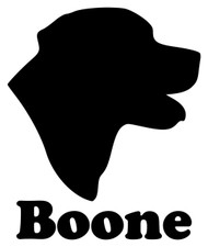 LABRADOR RETRIEVER Head with Personalized Name Vinyl Decal Sticker - Dog Profile Silhouette