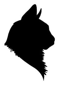 Cat Head Vinyl Decal Sticker - Profile Silhouette Feline Kitten Pet