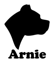 PIT BULL HEAD with Personalized Name Vinyl Decal Sticker - Dog Profile Silhouette Pittie Bully