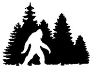 BIGFOOT IN TREELINE - Vinyl Decal Sticker - Yeti Trees Forest Camping Pine Forest Sasquatch