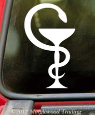 BOWL OF HYGIEIA - Vinyl Decal Sticker - Serpent Chalice Hygeia Pharmacy Symbol