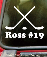 CROSSED HOCKEY STICKS with Personalized Name - Vinyl Decal Sticker - Ice Roller Puck Team