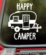 HAPPY CAMPER Vinyl Sticker - RV Travel Trailer TT Camping 5th Wheel Glamping