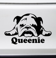 BULLDOG with Personalized Name Vinyl Sticker -V4- English Bully Dog Puppy - Die Cut Decal