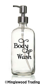 BODY WASH Vinyl Sticker - Bathroom Label - Shower Bath - Die Cut Decal - Swash