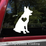 GERMAN SHEPHERD with Heart Vinyl Sticker - GSD Love Dog Puppy -V1- Die Cut Decal