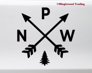 PNW Arrows Vinyl Sticker - Pacific Northwest Hiking Cascadia Washington Oregon Idaho - Die Cut Decal