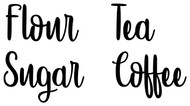 Set of 4 Canister Labels -V5- Vinyl Stickers - Kitchen Organization - Flour Sugar Tea Coffee - Die Cut Decals - Hipster