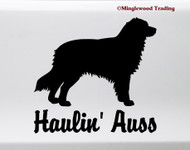 Haulin' Auss Vinyl Sticker -V2- Australian Shepherd Aussie Dog Puppy - Die Cut Decal