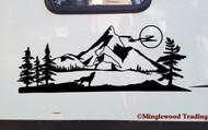 Wolf Mountain Moon Vinyl Sticker - RV Camper Graphics Scenery - Die Cut Decal