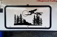 Flying Eagle with Trees Scene Vinyl Sticker - Camper RV Travel Trailer Graphics - Die Cut Decal
