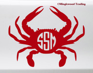 Crab Monogram Vinyl Sticker - Name Initials Personalized - Die Cut Decal