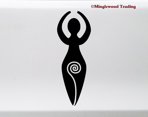 Spiral Goddess vinyl die cut decal sticker by Minglewood Trading