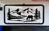 Mountain Horse Trees Scene V2 Vinyl Sticker - Camper RV Travel Trailer Graphics - Die Cut Decal