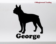 Boston Terrier with Personalized Name V3 Vinyl Sticker - American Gentleman Dog Puppy - Die Cut Decal
