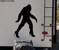 Bigfoot in Heels Vinyl Sticker - Sasquatch Yeti Believe 4x4 Off Road - Die Cut Decal