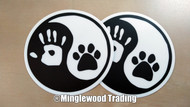 "2 Pack - 3"" Yin Yang Hand Paw Stickers - Dog Cat Puppy Kitten Animal Pawprint - Vinyl Die Cut Decals"