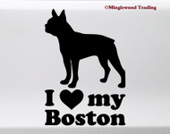 I Love My Boston Terrier Vinyl Sticker - American Gentleman Dog Puppy - Die Cut Decal
