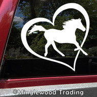 Horse Lover Vinyl Sticker - Heart Love Riding Stables - Die Cut Decal