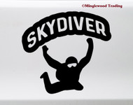 Skydiver Vinyl Sticker V2 - Parachute Jump Skydiving Plane - Die Cut Decal