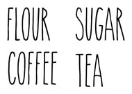 Set of 4 Rae Dunn Inspired Canister Labels V6 Vinyl Stickers - Kitchen Flour Sugar Tea Coffee - Die Cut Decals
