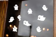 Sheet Set of 9 Ghosts Vinyl Stickers - Halloween Spooky Spirits - V1 Die Cut Decals