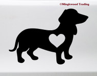 Dachshund with Heart Vinyl Sticker V2 - Wiener Dog Puppy Doxie Love - Die Cut Decal