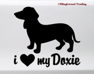 I Love My Doxie Vinyl Sticker - Dachshund Heart Wiener Dog Puppy - Die Cut Decal