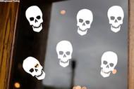 Sheet Set of 6 Skulls Vinyl Stickers - Skeleton Halloween Spooky - V1 Die Cut Decals