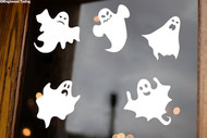 Sheet Set of 5 Ghosts Vinyl Stickers - Halloween Spooky Spirits - V2 Die Cut Decals