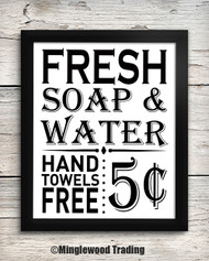 Fresh Soap & Water 5¢ 8 x 10 Art Print - Bathroom Wall Decor Restroom