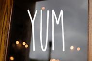 Yum Vinyl Sticker - Farmhouse Style Skinny Font - Home Kitchen Storefront Decor - Die Cut Decal