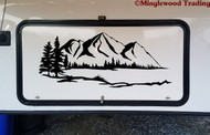 Lake Mountain Trees Scene Vinyl Sticker - Camper RV Travel Trailer Graphics - Die Cut Decal