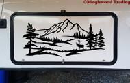 Elk Mountain Scene Vinyl Sticker - Camper RV Travel Trailer Graphics Caribou - Die Cut Decal