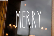 Merry Vinyl Sticker - Christmas Decor Farmhouse Skinny Font Rae Dunn Inspired - Home Die Cut Decal