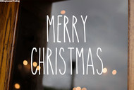 Merry Christmas Vinyl Sticker - Happy Holidays Decor Farmhouse Skinny Font Rae Dunn Inspired - Home - Die Cut Decal