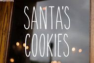 Santa's Cookies Vinyl Sticker - Farmhouse Style Skinny Font - Santa Claus Christmas Eve Home Kitchen Decor - Die Cut Decal