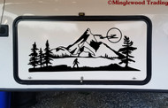 Bigfoot Mountain Moon Scene Vinyl Sticker - Camper RV Travel Trailer Graphics 4x4 - Die Cut Decal